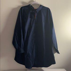 Navy Blue Button Down Blouse 3X Joe Fresh